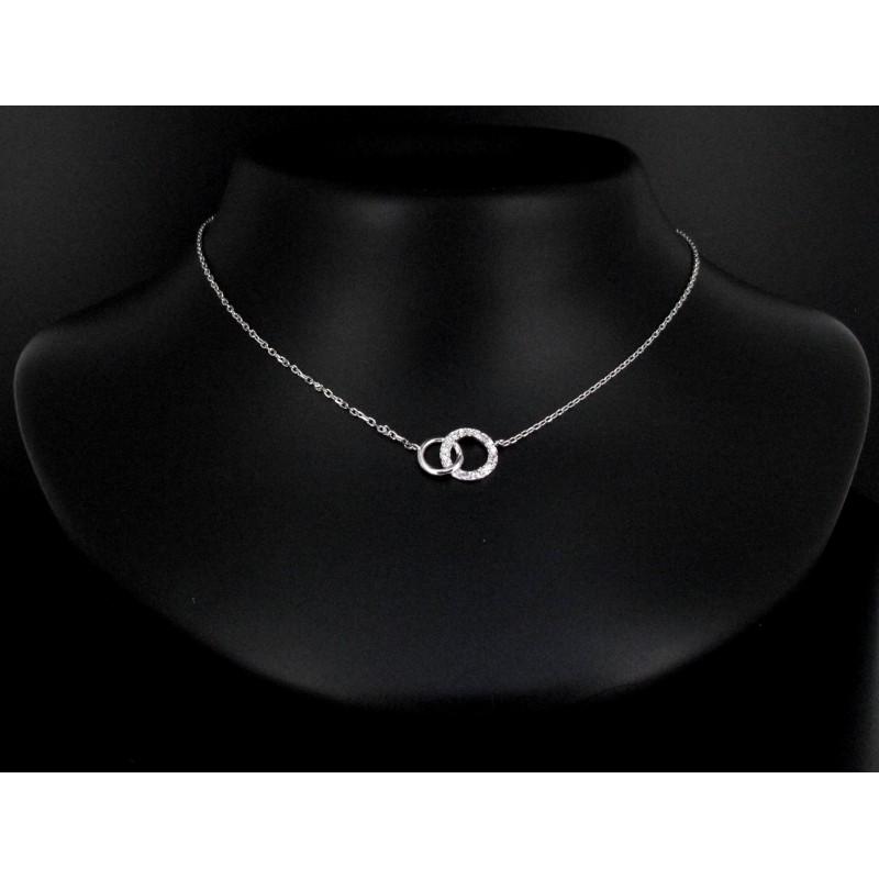 Collier double anneaux zircon & métal Argent 925.