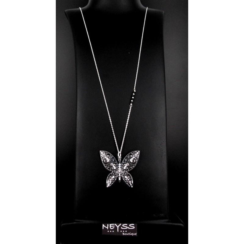 Sautoir Papillon Argent