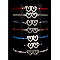 Bracelet Cordon Double Cœurs Argenté Neyss