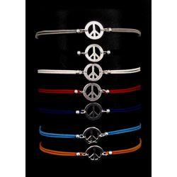 Bracelet Cordon Peace Argenté.