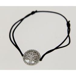 Bracelet cordon Arbre de Vie Argent et Strass Noir