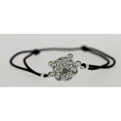 Bracelet cordon Tête de Tigne Argentée