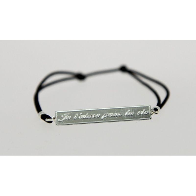 Bracelet élastique Message Je t'aime pour la vie Argenté