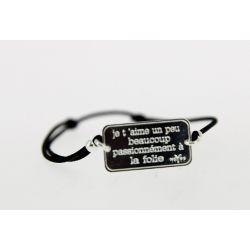 Bracelet élastique Message Je t'aime un peu beacoup passionnément à la folie Argenté