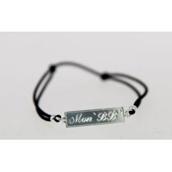 Bracelet élastique Message Mon BB argenté