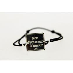 Bracelet élastique Message Mon petit cœur d'amour Argent