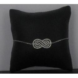 Bracelet Infini Argent 925 épais strassé