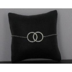Bracelet Deux cercles strassés Zircon Argent 925