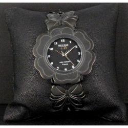 Montre Bijou Camélias Métal Noir