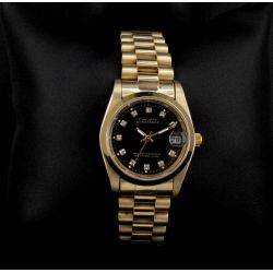 Montre femme Vintage doré noir strass