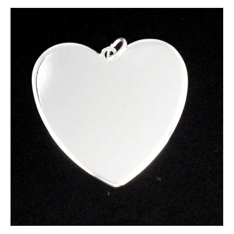 Plaque coeur à gravé argenté 30 m/m