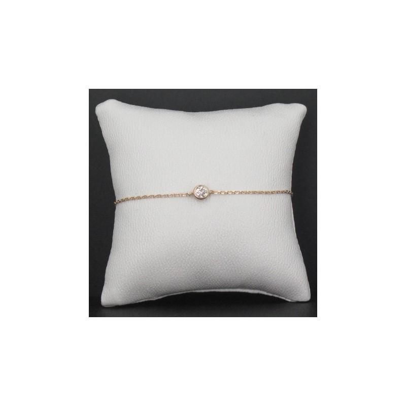 Bracelet Solitaire Plaqué Or Rose