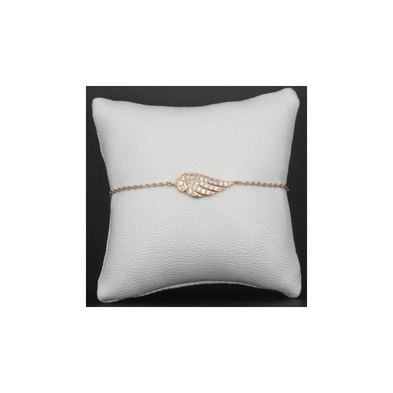 Bracelet Femme Ailes Plaqué Or Rose Strass