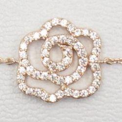 Bracelet Mode Camélia Plaqué Or Rose Strass