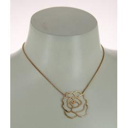 Collier Grande Rose Plaqué Or