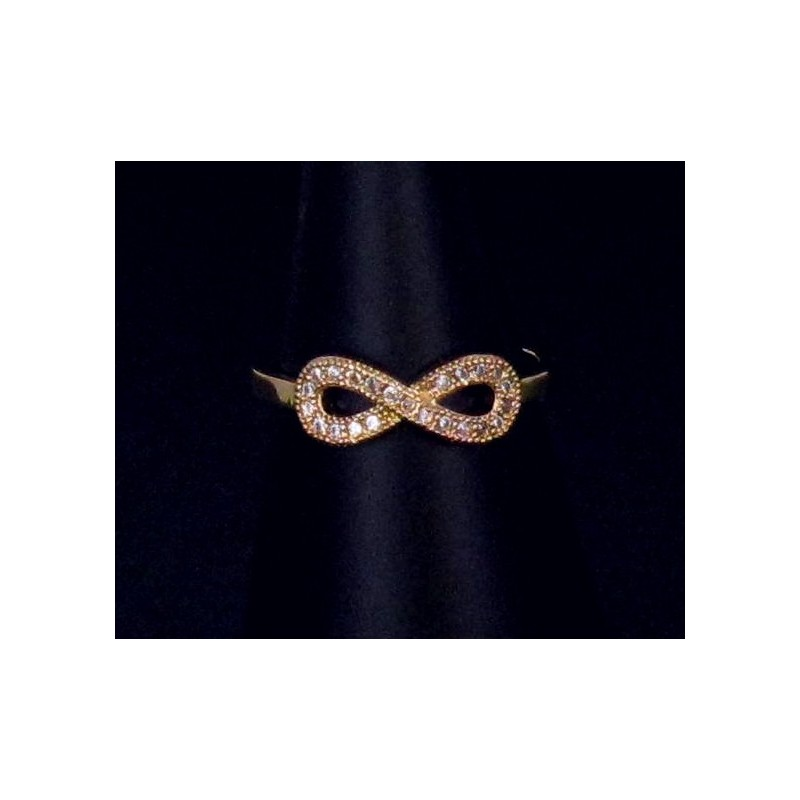 Bague Infinis Plaquée Or Fine Strass