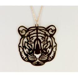 Sautoir Tête de Tigre Plaqué Or