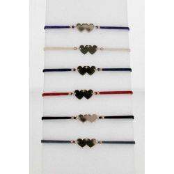 Bracelet cordon Double Cœurs Dorés
