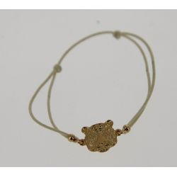 Bracelet cordon Tête de Tigre Dorée