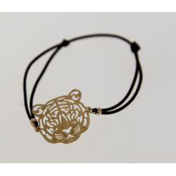 Bracelet élastique Tête de Tigre Dorée Ajourée