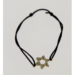 Bracelet cordon Etoile Strass Swarovski Noir