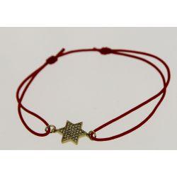 Bracelet cordon Etoile Pleine Strass Swarovski Rouge